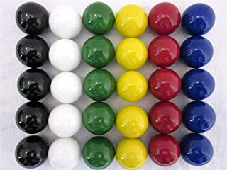 "LY1122 30 Large 1"" (25mm) Replacement Marbles Aggravation Board Game Solid Color Glass, 6 Colors, 5 of Each"