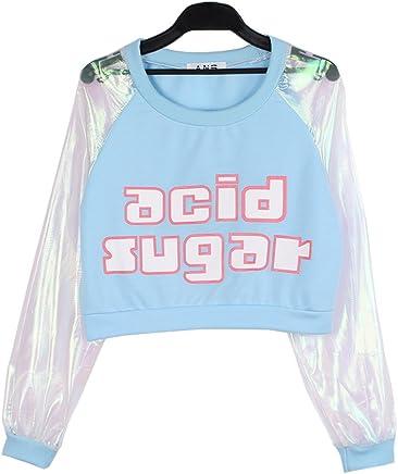 055454f01 Focal20 Laser Patchwork Sweatshirt Long Sleeve Tee Tops Harajuku Pullover T  shirt