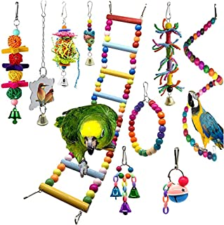 10Pcs Bird Swing Toys Parrot Chewing Toys Hanging Perches with Bells Finch Toys for Parrots, Parakeet, Conure, Cockatiel, ...
