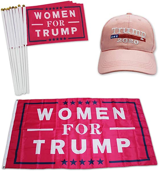 QSUM Donald Trump 2020 Hat And Flag Kit Special For Women Supporter Include 1pcs 3 X 5 Ft Flag 1pcs Hat 8pcs Hand Flags