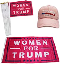 QSUM Donald Trump 2020 Hat and Flag kit Special for Women Supporter, Include 1pcs 3 x 5 Ft Flag & 1pcs Hat & 8pcs Hand Flags