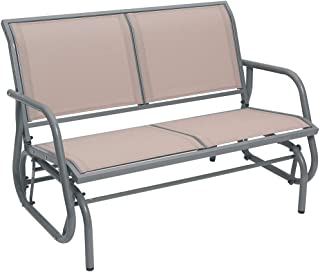 SUPERJARE Outdoor Swing Glider Chair, Patio Bench for 2 Person, Garden Loveseat, Rocking Seating - Light Brown