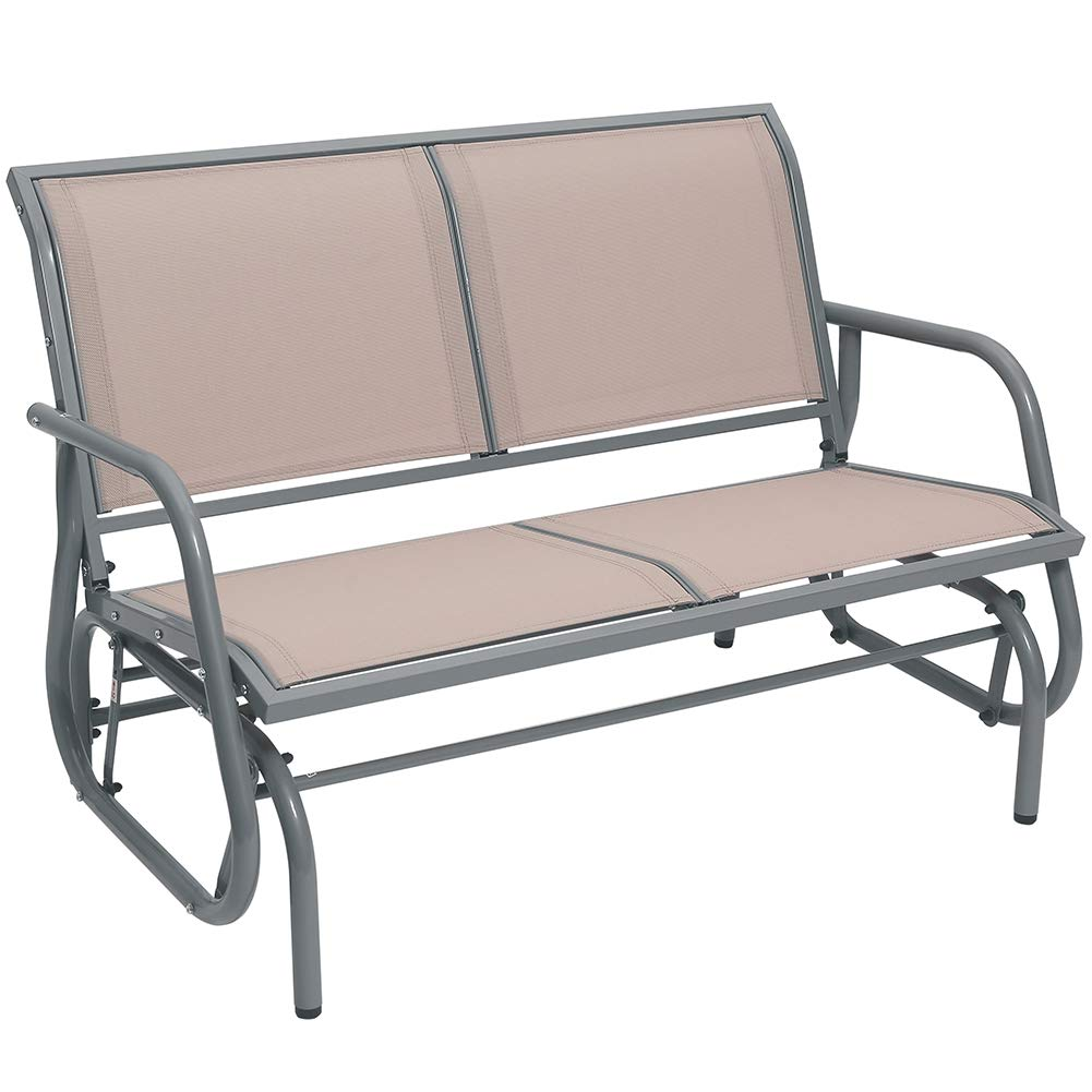 Superjare Patio Bench for 2 Person Brown Garden Rocking Seating Outdoor Swing Glider Chair
