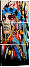 Native American Decor Native American Wall Art Truly Beauty Painting Indian Girl Chief Feathered Women Modern Home Decor P...