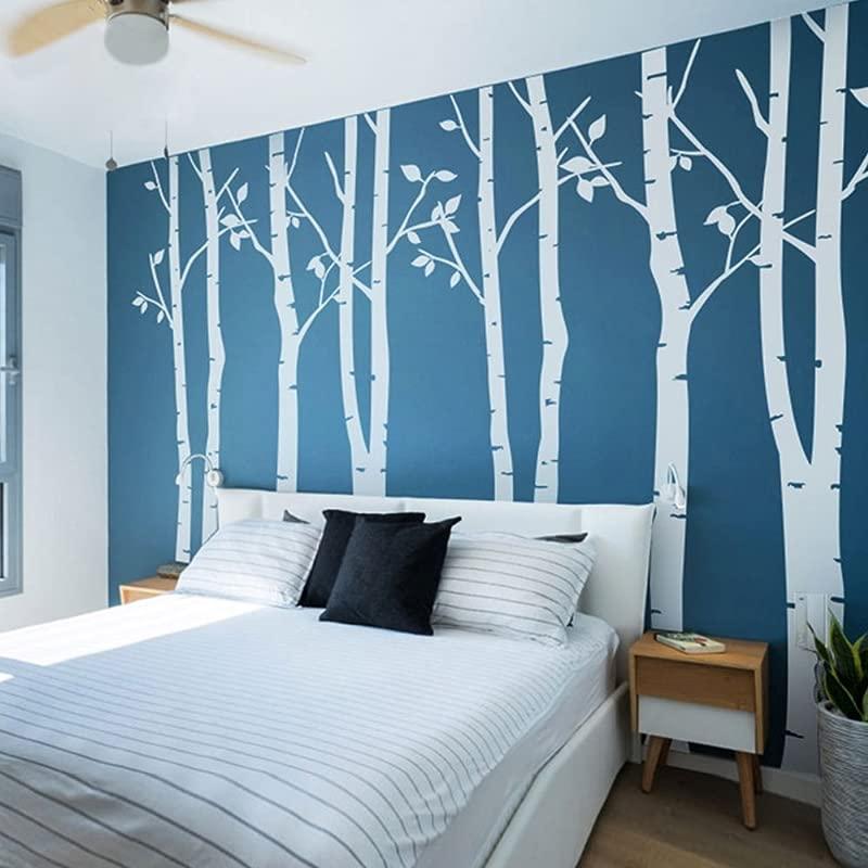 N SunForest 7 8ft White Birch Tree Vinyl Wall Decals Nursery Forest Family Tree Wall Stickers Art Decor Murals Set Of 8