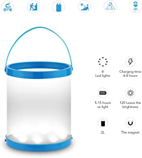 GOGO Lantern Solar Powered LED Camping with Magnet USB Port Charge & Solar Panel Portable Collapsible Waterproof Lamp for Ice Bucket BBQ Fishing Hiking Tent Garden