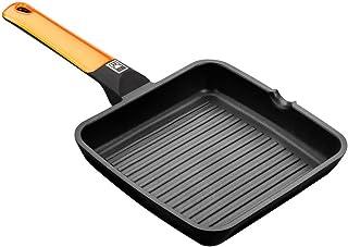 BRA Efficient Orange - Grill asador con Rayas, 28 cm, Aluminio Fundido con Antiadherente Platinum Plus, Apto para inducción, Efficient Orange
