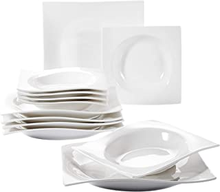 VANCASSO Square Dinnerware Plate Sets of 6, Soup Plates, Dessert Plates and Dinner Plates for 6, Ivory White Porcelain 12-Piece Plate Set