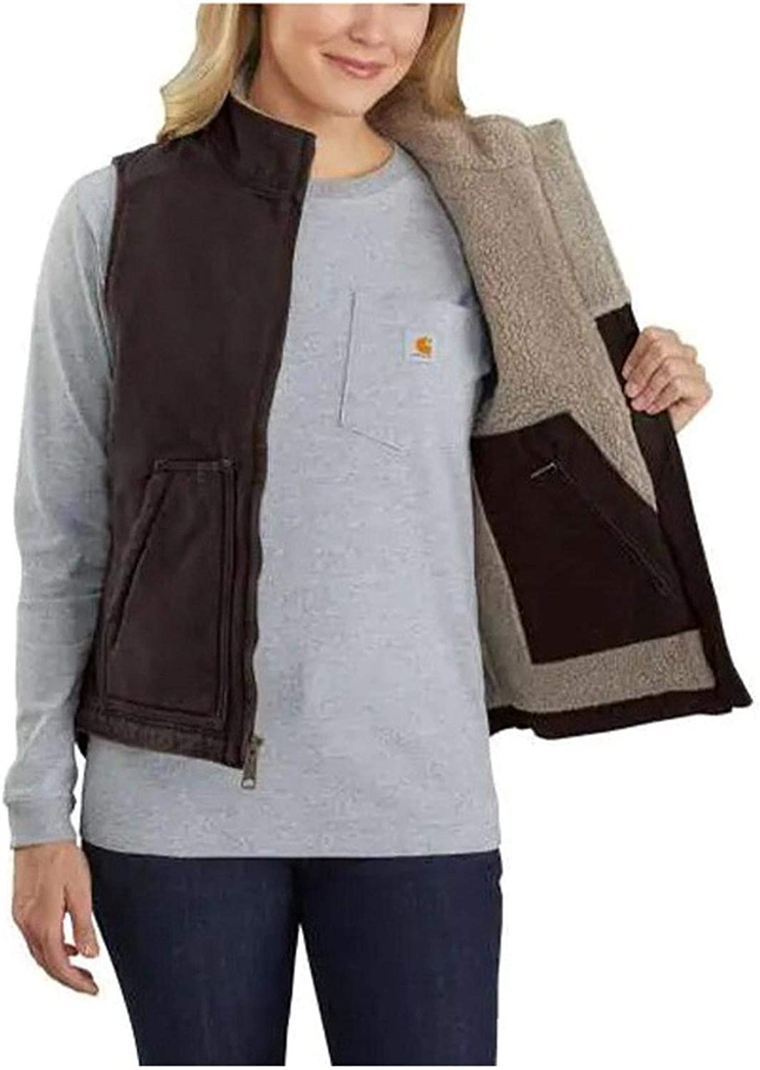 Carhartt Womens Loose Fit Washed Duck Sherpa-Lined Mock Vest