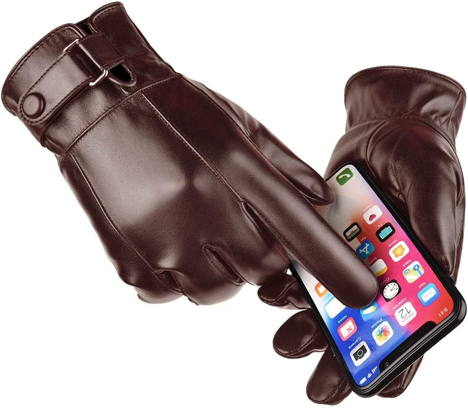 XIAOQIU Gloves Men's Winter Warm Fashion Waterproof Gloves Men Faux Leather Driving Gloves Thin Leather Gloves for Touch Screen Brown Mittens (Color : Dark Grey, Gloves Size : T)