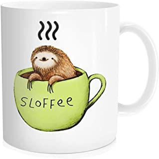 Funny Coffee Mug Tea Cup For Men Women - Cute Sloth Sloffee - Fathers Day Mothers Day Birthday Thanksgiving Day Christmas Gift for Dad Mom Friends Wife Husband Boy Girl, White Fine-Bone Ceramic 11 oz