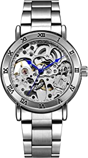 Alienwork IK Reloj Automático Hombre Mujer Esqueleto Fondo de Vidrio
