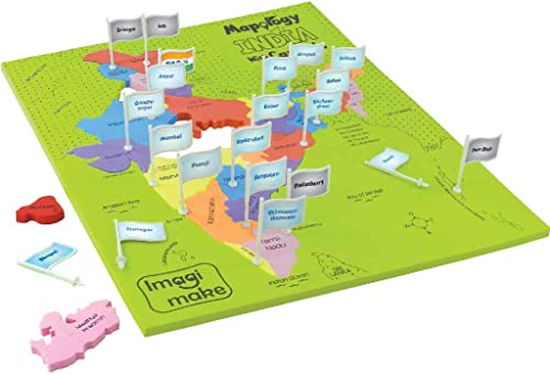 Imagimake Mapology India with State Capitals - Educational Toy and Learning Aid for Boys and Girls-Map Puzzle-Jigsaw ...