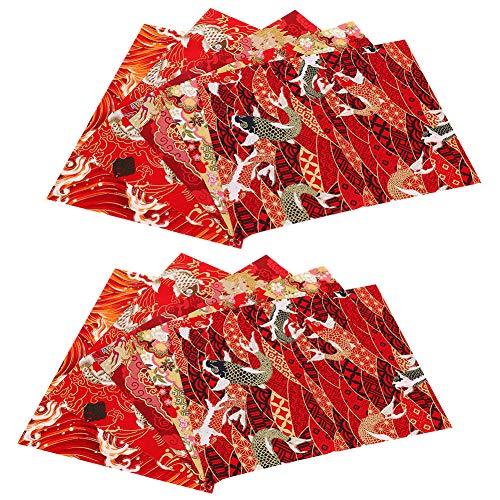 10 piezas de tela de algodón por la yarda, paquete de tela para acolchar bronceado estilo japonés estampado Patchwork DIY costura Scrapbooking - 9,8 x 7,9 pulgadas