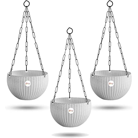 Kraft Seeds Hanging Planter Euro Elegance Round Solid Look and Feel Pots for Home & Balcony Garden 17.5cm Diameter, 3 Pieces, White