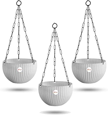 Kraft Seeds Hanging Planter Euro Elegance Round Solid Look and Feel Pots for Home & Balcony Garden 17.5cm Diameter (Pack of 3) White