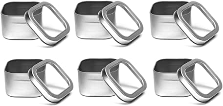 Nakpunar 6 pcs Clear Top Square Tins - 8 oz