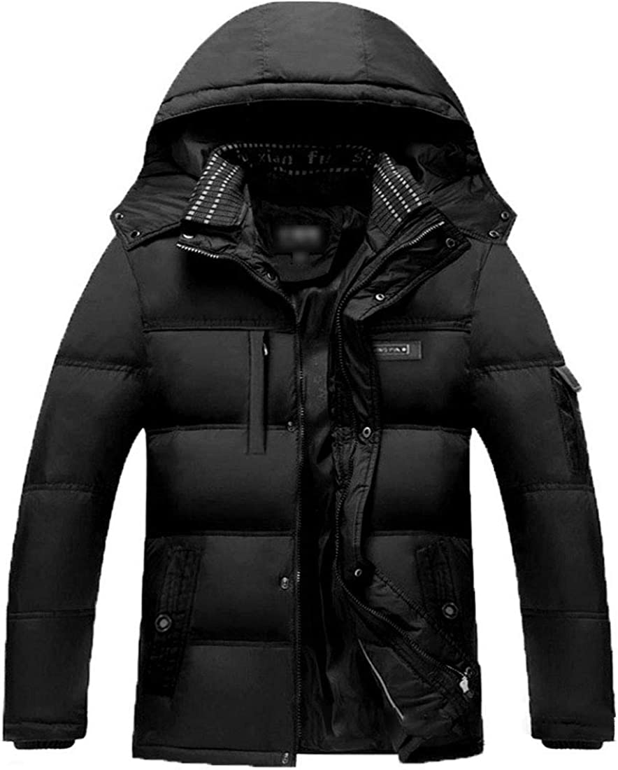 Flygo Men's Down Puffer Jacket Hooded Quilted Insulated Coat with Removable Hood