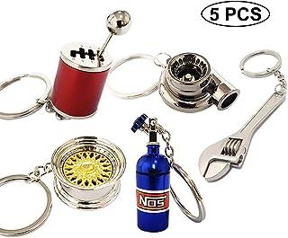 Ispeedytech 2Pcs Spinning Turbo Keychain,Make Whistle Sound,Auto Part Model Metal Keychain//Key Ring//Holder Set Bronze Color