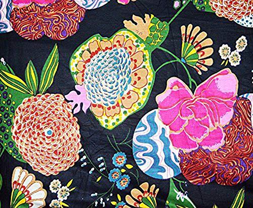 Bloque de mano Tela de impresión Tela india decorativa Correr metros de tela Hecho a mano Algodón Confección Tela de estampado floral Medidor de tela de 2,5 metros para coser tela india por metro
