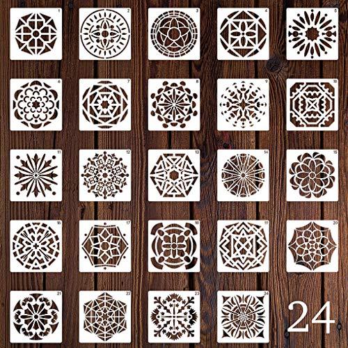 Rolin Roly 24 Piezas Plantillas de Painting Stencils Reutilizables de Mandalas para Pintar Rocas Bricolaje Arte de Lapiedra Muebles de Madera Pintura