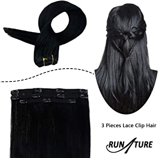 RUNATURE 18 Inches Clip In Human Hair Clip in Extensions 3pcs 50g Jet Black Invisible Lace Clip in Human Hair Brazilian Hair Extensions Clip Ins Remy Hair Extensions for Women Clip in Hair Extensions