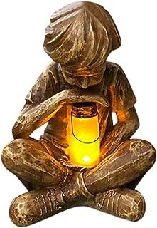 Statue de Jardin, Sculpture en résine pour Enfant avec lucioles solaires pour intérieur et extérieur,Statue de Jardin en P...
