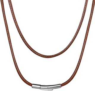 ChainsHouse Waterproof Braided Leather Cord Chain Necklace, Men Women DIY Woven Wax Rope Chain for Pendant, Customize Avai...
