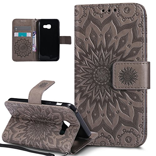 Coque Galaxy A3 2017,Etui Galaxy A3 2017,ikasus Embosser Gaufrage fleur soleil Housse Cuir PU Housse Etui Coque Portefeuille Protection supporter Flip Case Etui Housse Coque pour Galaxy A3 2017,gris