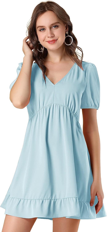 Allegra K Women's V Neck Short Sleeve Ruffle Hem Babydoll Dress