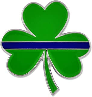Thin Blue Line Shamrock St. Patrick's Day Police Enamel Lapel Pin