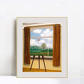 INVIN ART Framed Canvas Giclee Print Art The Human Condition by Rene Magritte Abstract Wall Art Living Room Home Office Decorations(Aluminum Metal Champagne Frame with Mat & Glass,24