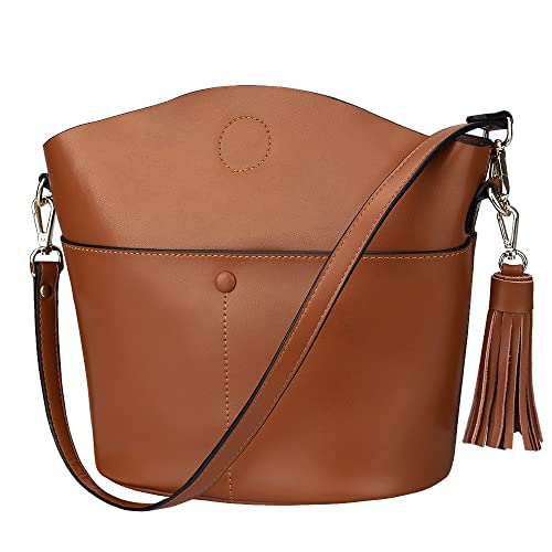 S-ZONE Women s Small Cowhide Genuine Leather Purse Handbag Tassel Crossbody Shoulder  Bag 312677a0a9