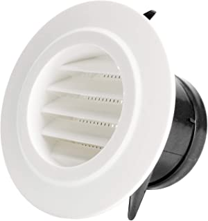 Hon&Guan 3'' Air Vent Louver, Air Grill Cover with Built-in a Fly Screen for Bathroom Office Home (ø75mm)