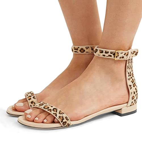 8b5edb32 YDN Womens Chic Block Low Heel Sandals with Buckle Solid Ankle Strap Flat  Shoes Comfy