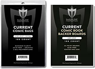 (100) Current Size Ultra Clear Comic Book Bags and Boards - by Max Pro (Qty= 100 Bags and 100 Boards)
