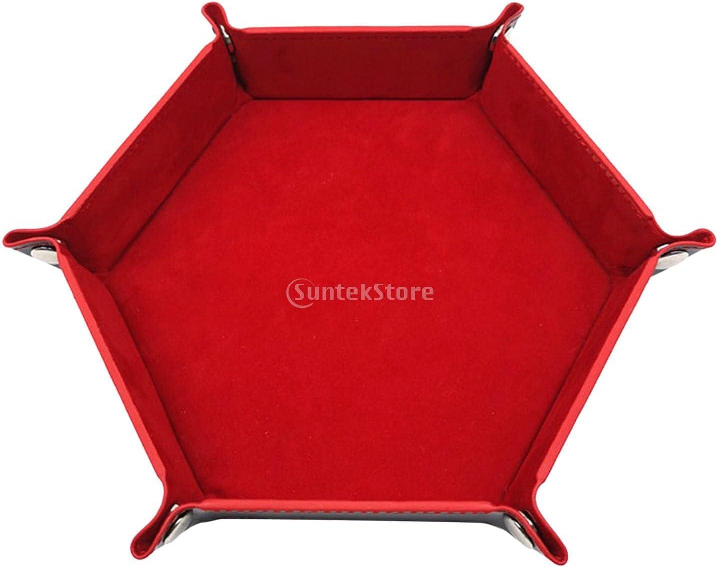 LKJHGH Foldable Hexagon Dice Tray Box T Key Coin Max 71% OFF Storage mart Leather