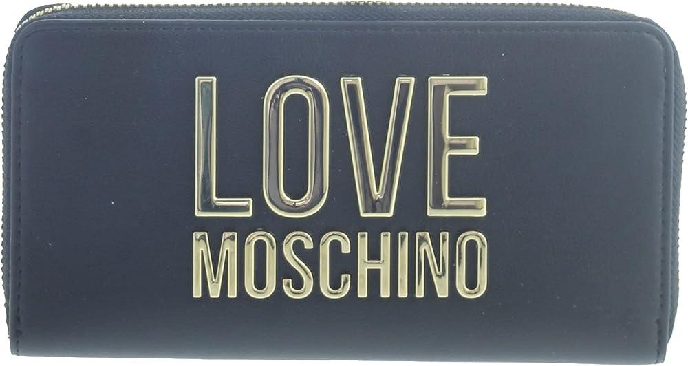 Love moschino porta carte di credito portafoglio da donna in ecopelle nero