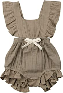 Infant Newborn Baby Ruffles Romper One-Piece Sleeveless Bowknot Outfit Cute Bodysuit Jumpsuit Sunsuit,0-24 Months (6-12 Months, Light Brown Baby one-Piece Romper)