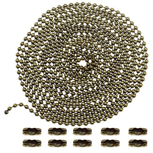 YINETTECH - Catena a sfere con 10 connettori per etichette di abbigliamento, 3 m, colore: Argento/Bronzo bronzo