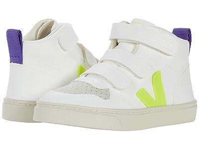 VEJA Kids V-10 Mid (Toddler) (White Jaune/Fluo Purple) Kids Shoes