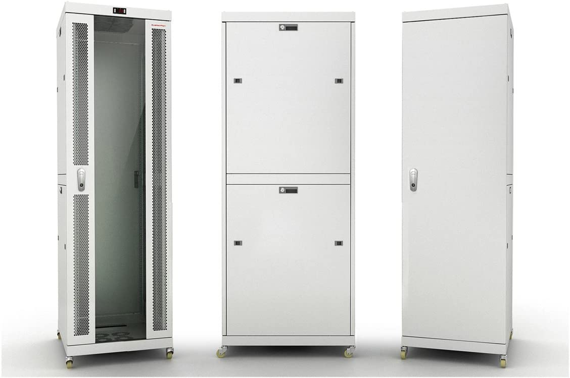 42U Free Standing Server Rack Cabinet. ACCESSORIES FREE!! Temperature Control System, 4 Fan Cooling Panel, Glass door, Fully Lockable 32