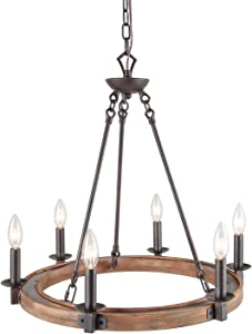 LNC A03300 Farmhouse Chandeliers for Dining Rooms,Vintage Wood Kitchen Lighting