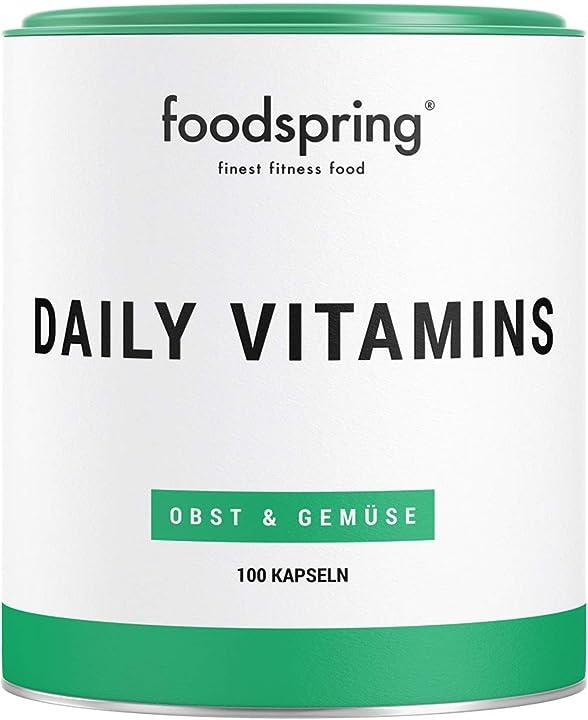 Multivitaminico foodspring daily vitamins, 100 capsule, il pieno di vitamine per tutti i giorni B01N5TQ1WE