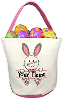 Personalized Pink Easter Basket with Bunny Rabbit and Name Banner Custom Egg Hunt Tote Bag - Your Choice of Free Name