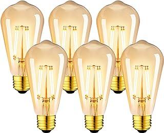 LVWIT Bombillas Marrón ST64 de Filamento LED E27 (Casquillo Gordo) - 8W Equivalente a 60W, 806 lúmenes, Color Blanco cálid...