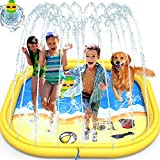 GiftInTheBox Splash Pad ,68 Inch Sprinkler Splash Pad Toys for Dogs and Kids, Inflatable Kids Sprinkler Play Mat with Funny Ring Toss Game, Summer Outdoor Water Toys for Toddlers