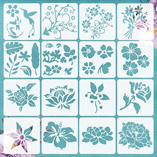 VETPW 16 Pcs Flores Pájaro Plantillas de Pintura Reutilizables, Plantillas de Dibujo DIY con Diseño de Rosa Girasol Set de Plantillas para Suelos, Ventana, Muebles, Madera, Diseño de Paredes, 15x15CM