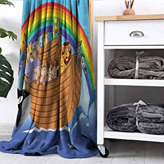 MTAER Blanket Noahs Ark with Funny Animals Dolphins Swimming Artistic Design Peru Blue Red Yellow Couch Bed Napping Reading Recliner W63 xL63