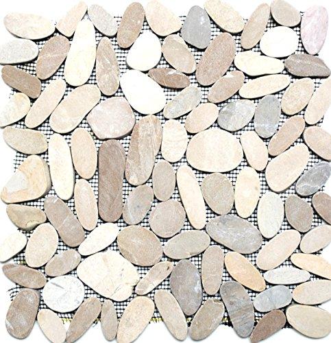 Ciottoli a mosaico tagliati a tinta unita TAN 5/7, ciottoli di fiume in pietra di fiume mosaico, formato: 30-70 x 9 mm, dimensioni foglio: 305 x 305 mm, 10 fogli